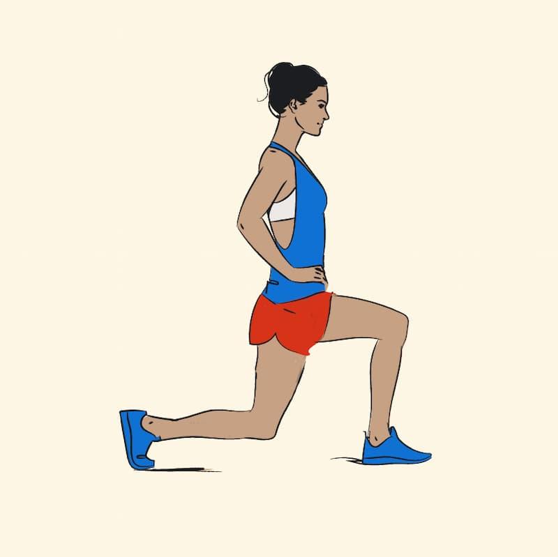 ilustração de exercícios para pernas avanço