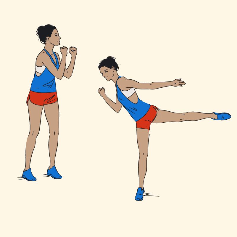 ilustração de como realizar o exercício para pernas chute para trás