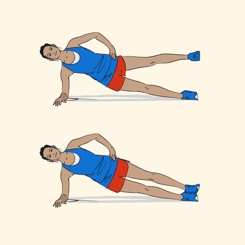 Ilustração de como realizar o exercício de perna elevação lateral
