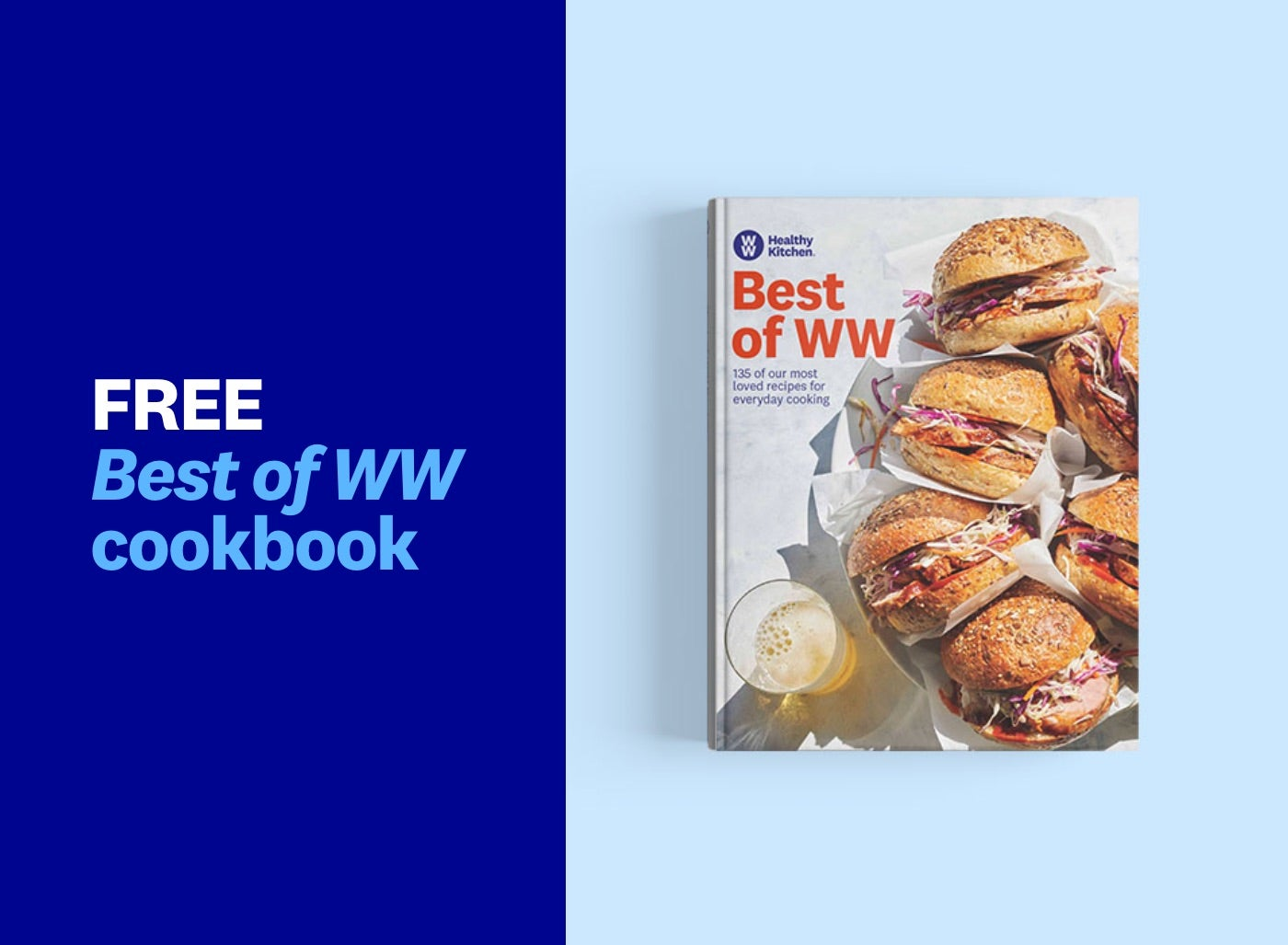 A cookbook with a cover that shows a plate full of sandwiches and a fizzy drink.