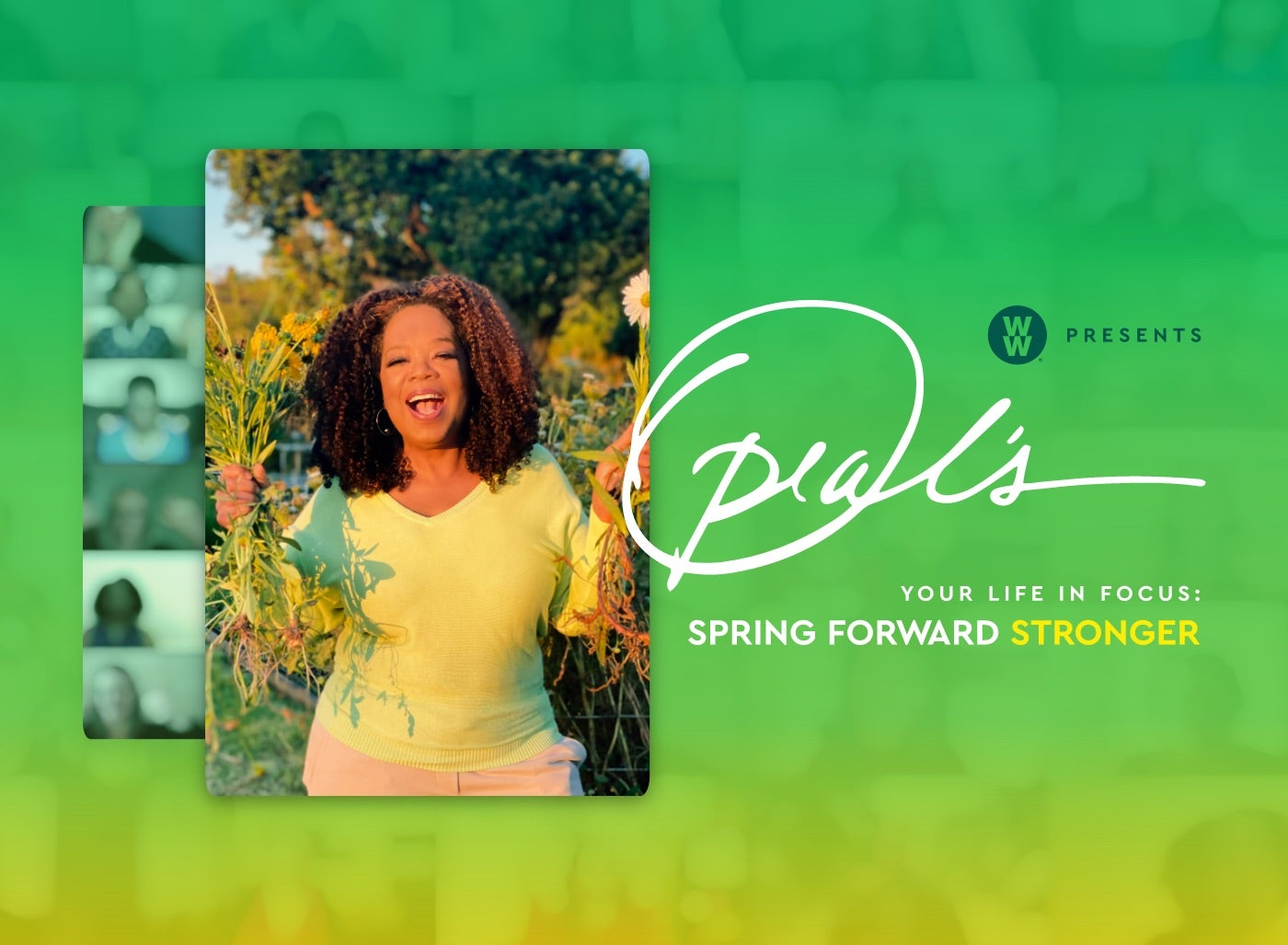 Oprah is pictured in a sunny field holding up flowers with both hands. She's appearing inside of a digital video call; many faces can be seen in the background.