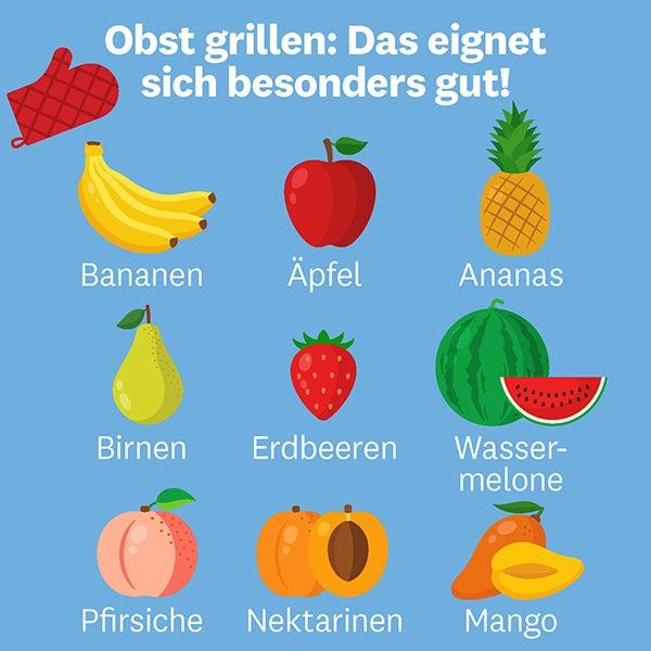 Grafische Übersicht über die geeigneten Obstsorten zum Grillen