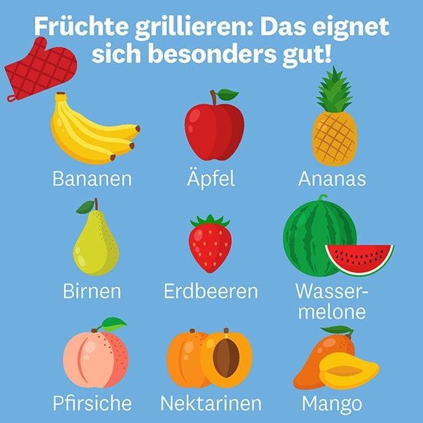 Grafische Übersicht über die geeigneten Früchtesorten zum Grillieren