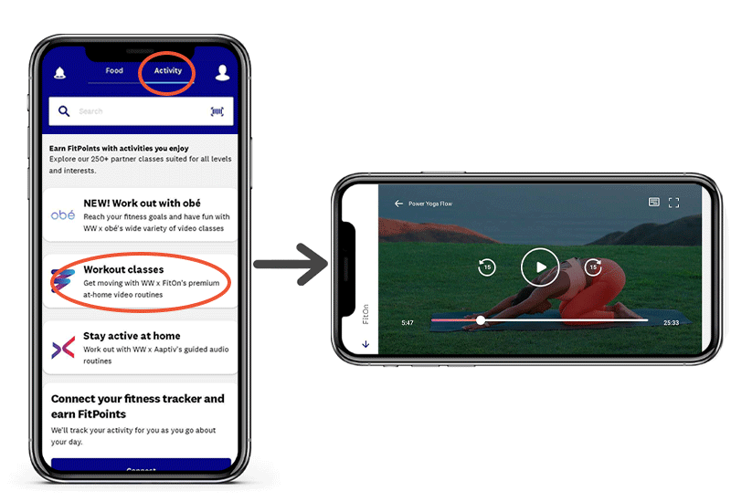 FitOn, Aaptiv and obé workouts in the WW app