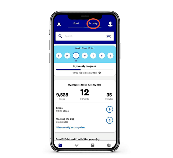 Activity dashboard in the WW app