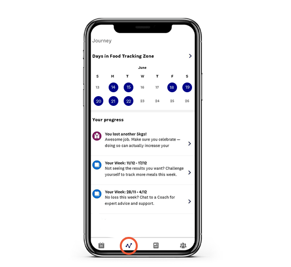 Food tracking progress in the WW app