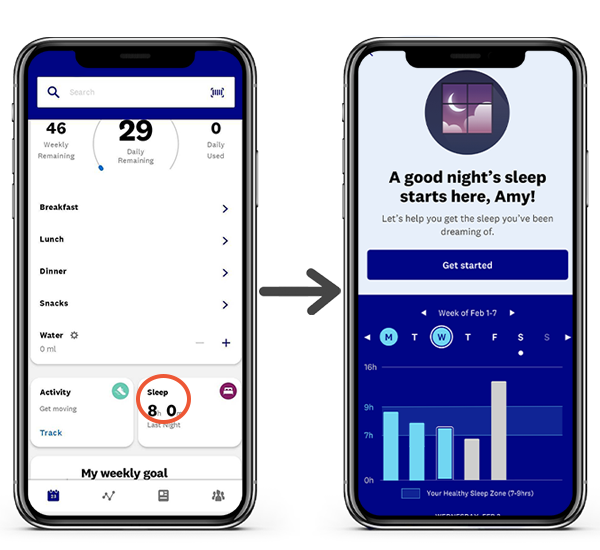 Sleep tracking in the app