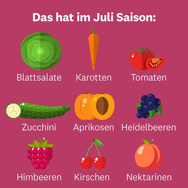Infografik Saisonobst und Saisongemüse im Juli
