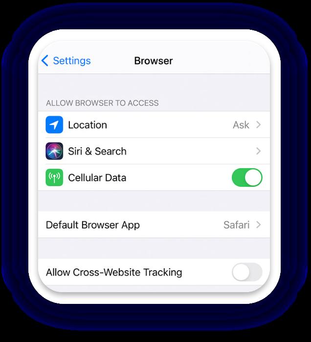 Screenshot of iOS Settings app showing Safari as default browser app