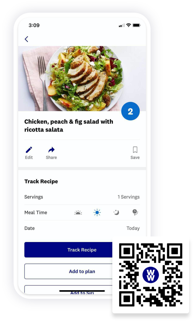 Screenshot of a recipe for Chicken, Peach & Fig Salad with Ricotta Salata in the WW app