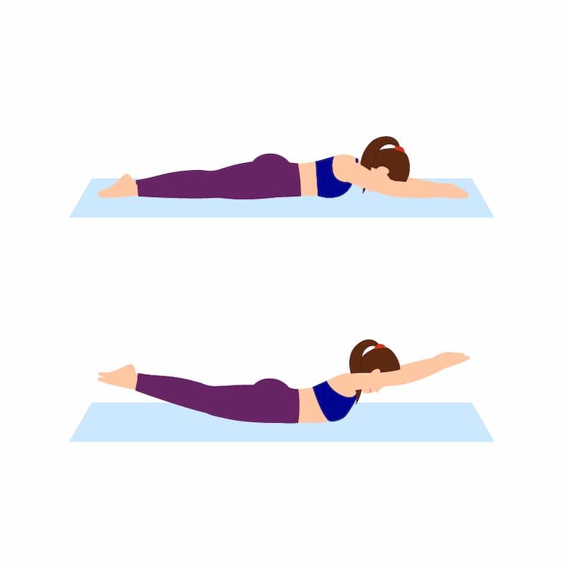 Ilustração da posição de extensão lombar