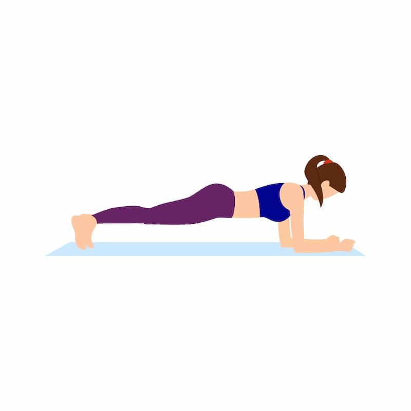 Ilustração do exercício para a lombar chamado prancha abdominal