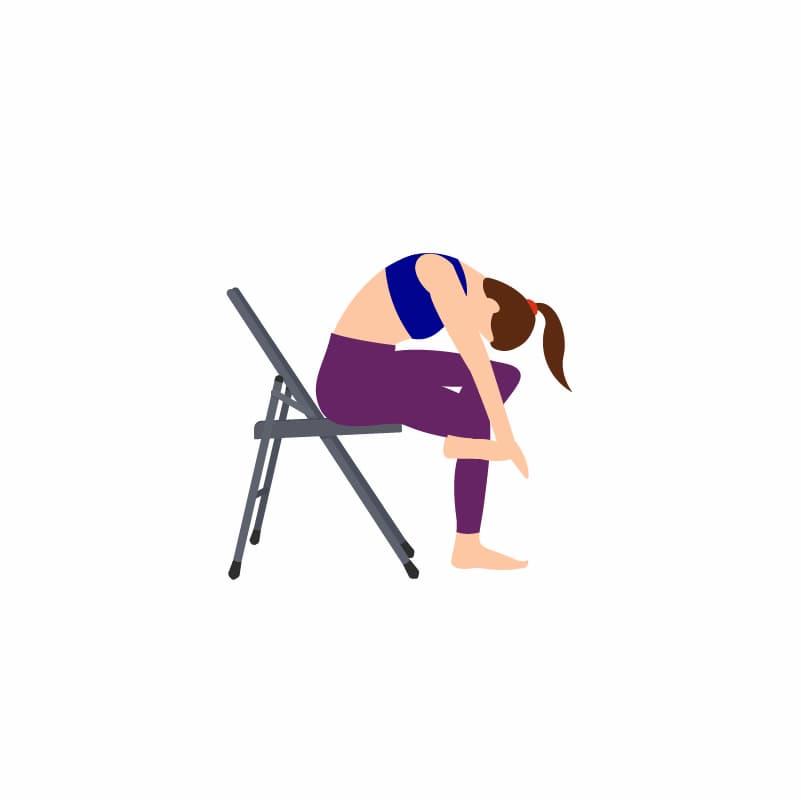 Ilustração de um alongamento de perna cruzada sentado na cadeira