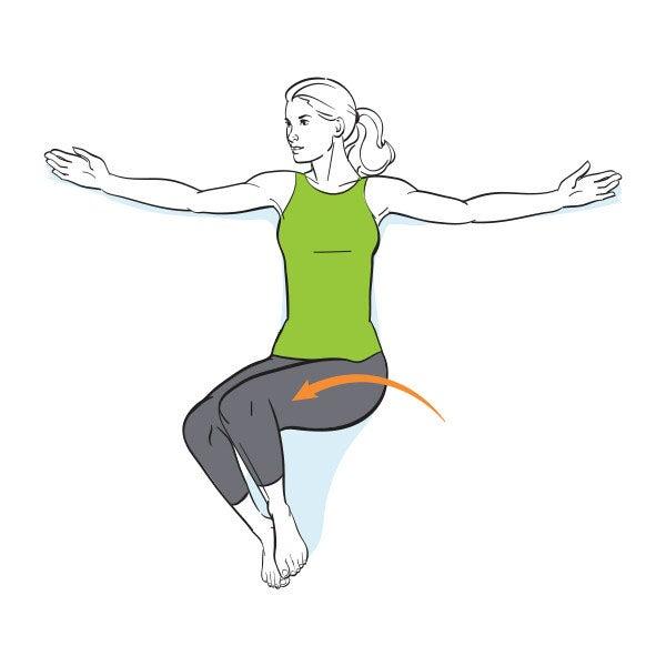 Ilustration einer Frau, die mit angewinkelten Beinen auf dem Boden liegt und seitlich ihr Becken kippt.