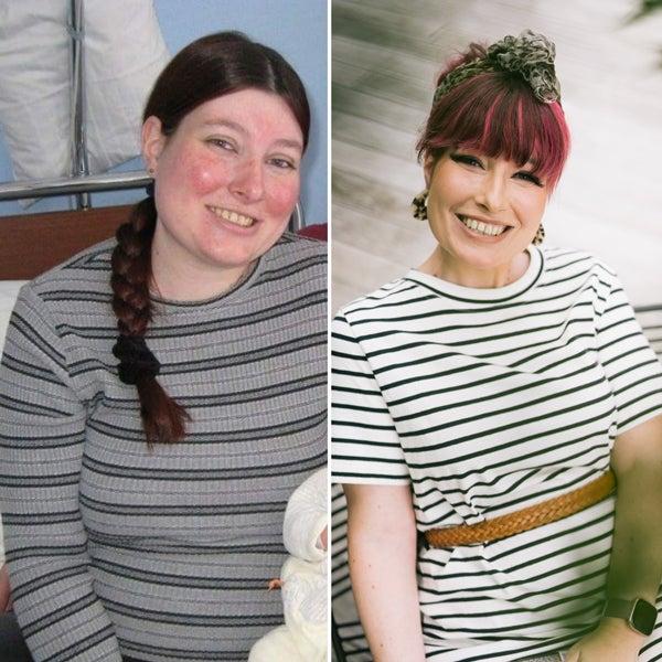 WW Mitglied Karin: links ist vor der Gewichtsabnahme und rechts ist nach der Gewichtsabnahme.