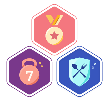 Three badges that can be won from the WellnessWins Challenges, one orange with a gold medal on it, another purple with a kettlebell with a 7 on it, and another blue one with a shield with a spoon and fork crossed on it.