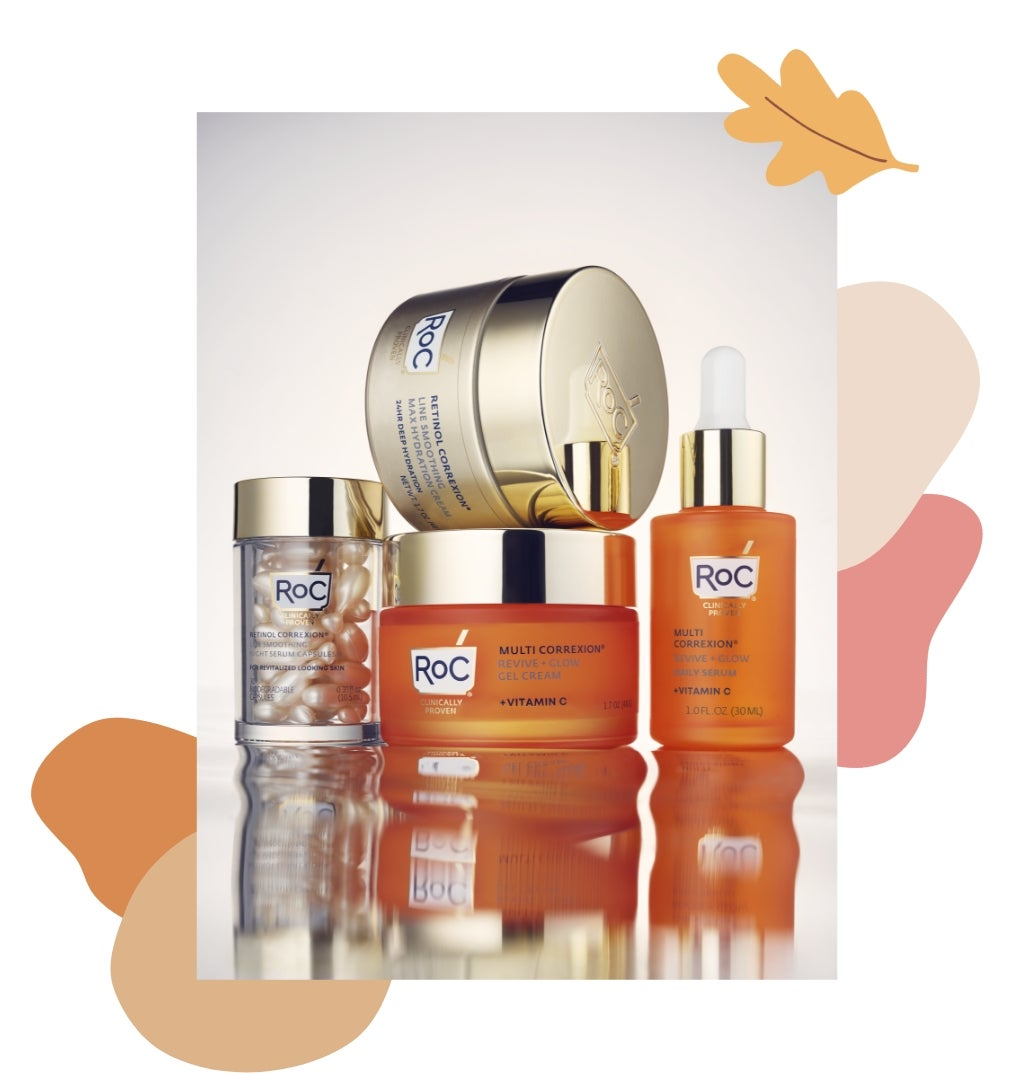 A collection of RoC skincare products in orange and gold canisters.