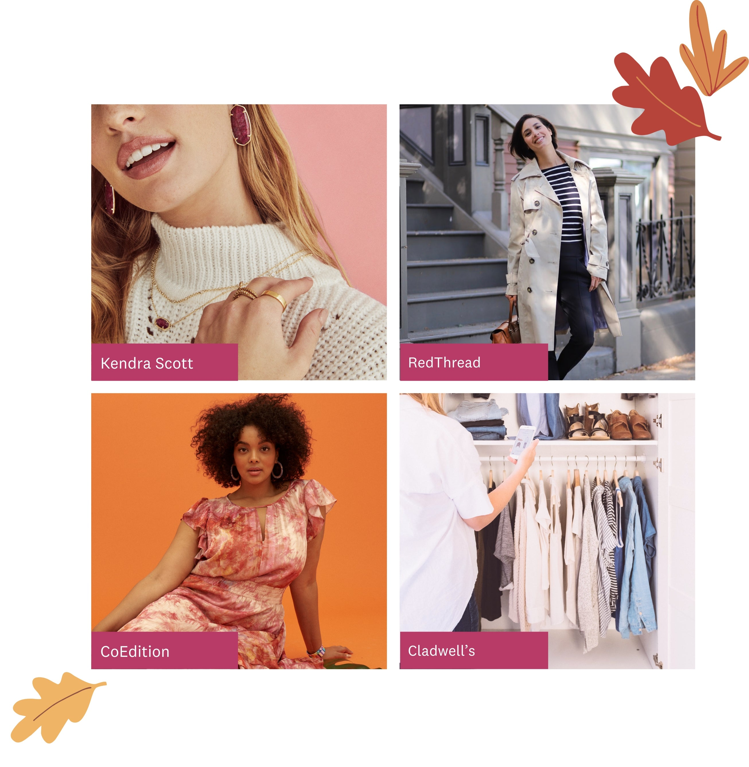 Four different designers clothing, including Kendra Scott, RedThread, CoEdition and Cladwell's, available from Refresh Your Closet.