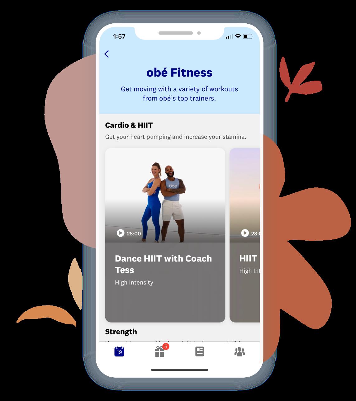 A screenshot of the Obé Fitness app.
