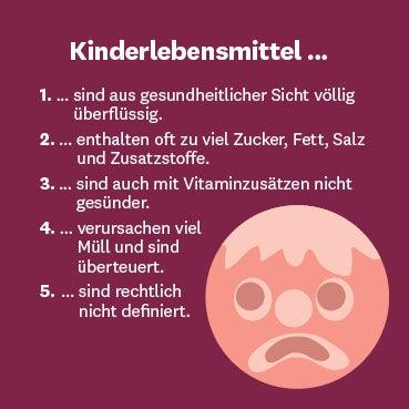 Infogafik mit fünf Fakten zu Kinderlebensmitteln.
