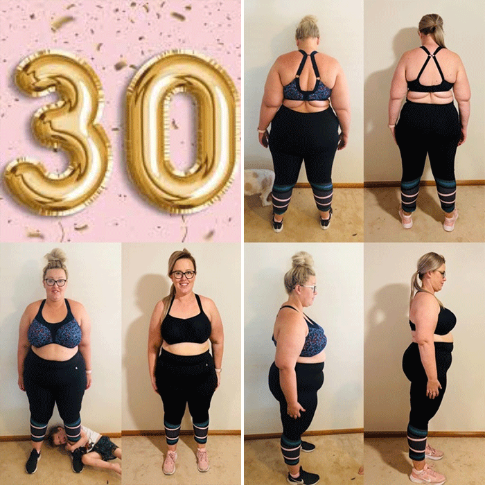 Kate's progress after 30kg weight loss