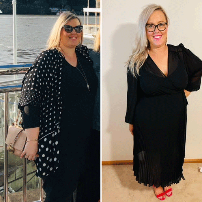 Kate before and after 30kg weight loss