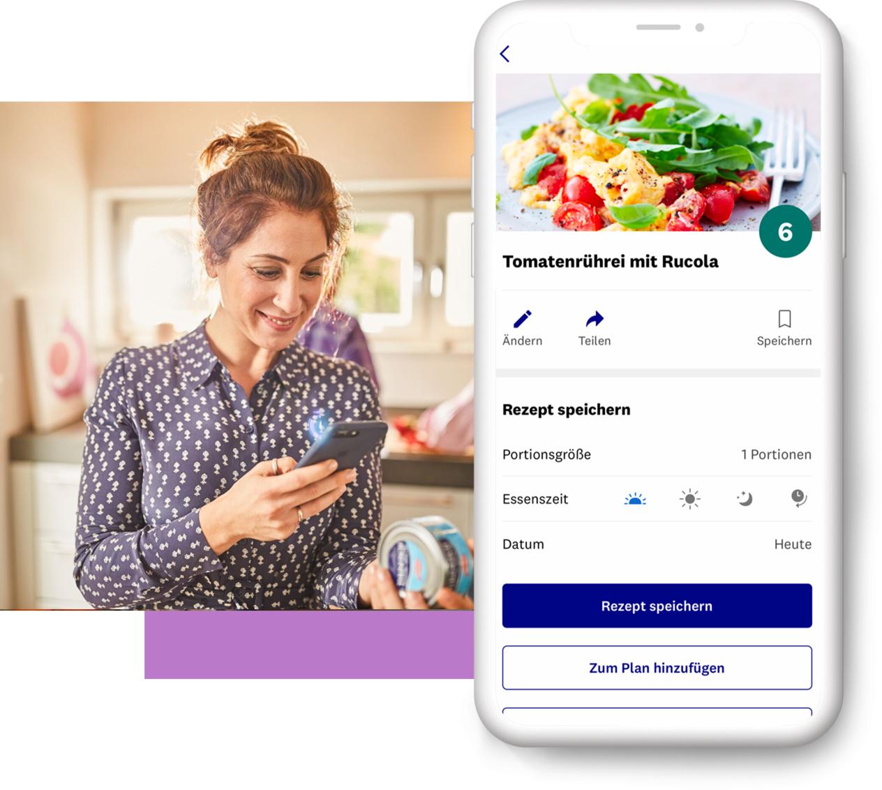 Frau hält Handy und scannt Lebensmittel mit WW Barcode-Scanner
