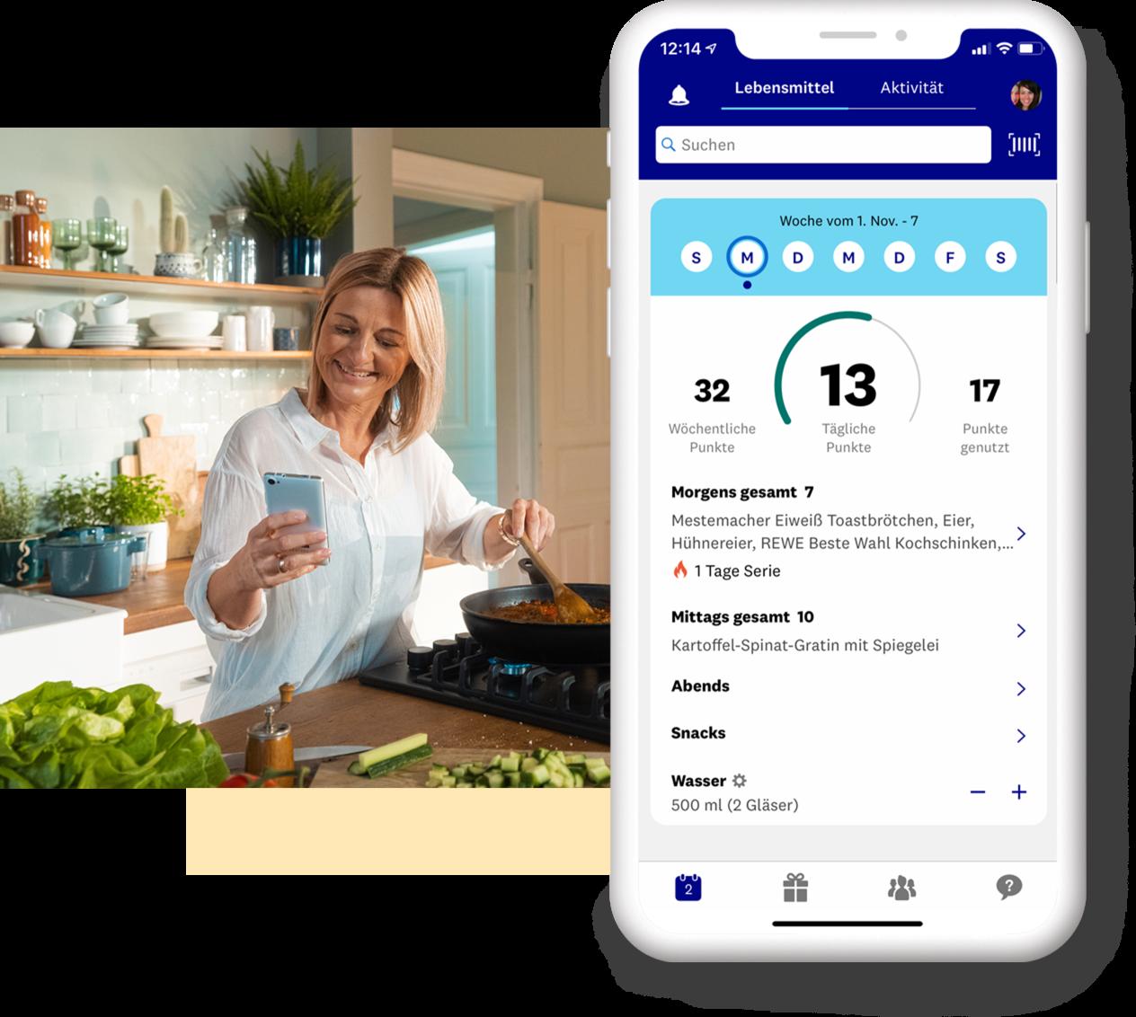 Blonde Frau kocht und schaut auf ihr Smartphone plus Vorschau der App