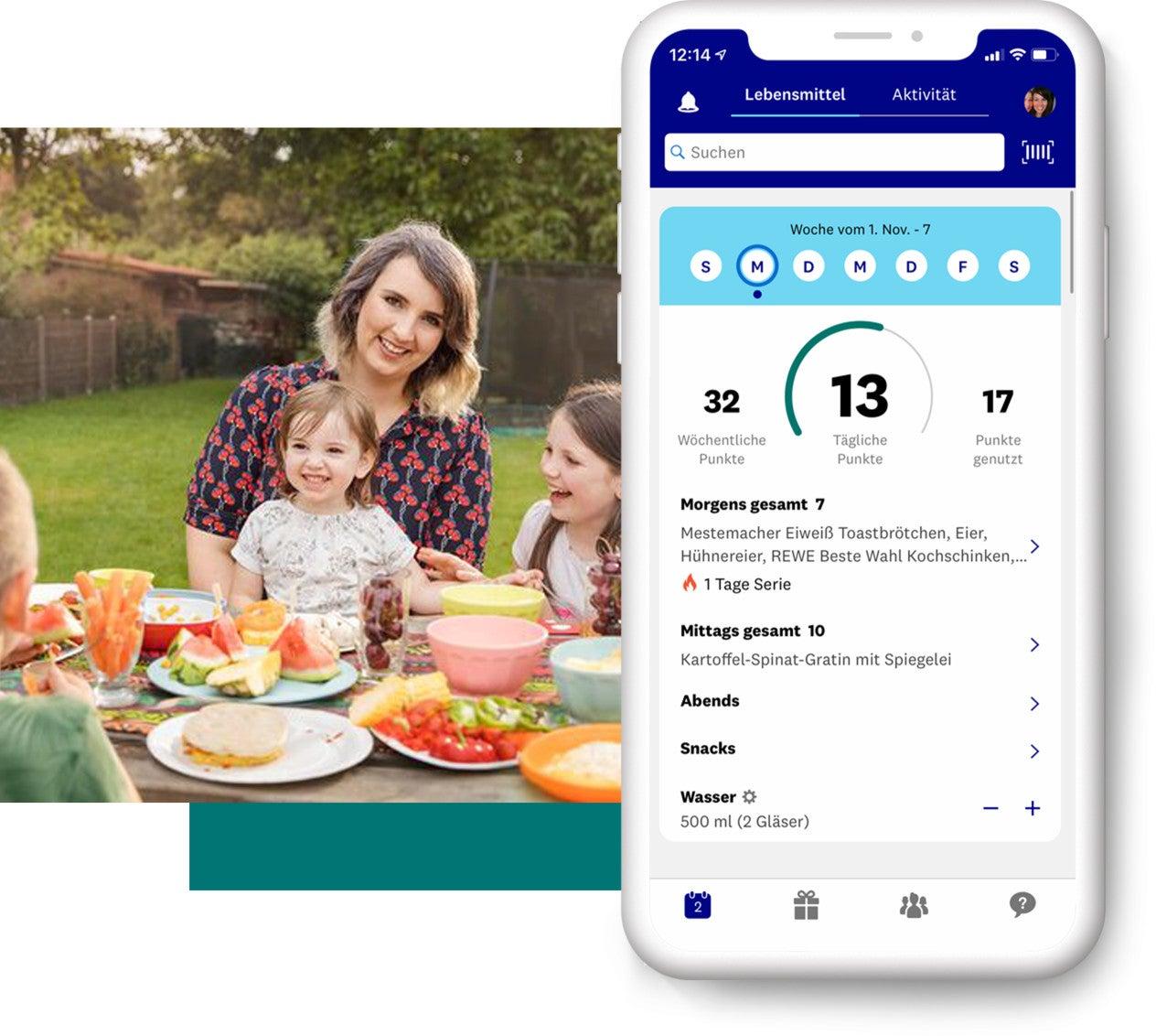 WW Mitglied Sofie mit ihren Kindern am Tisch, daneben eine Vorschau der App
