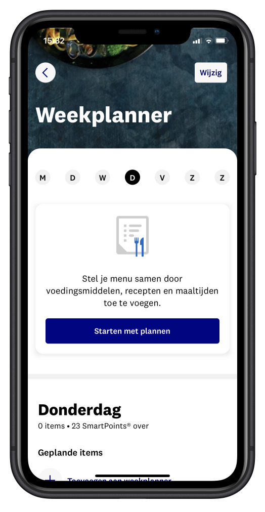 weekplanner in de ww app