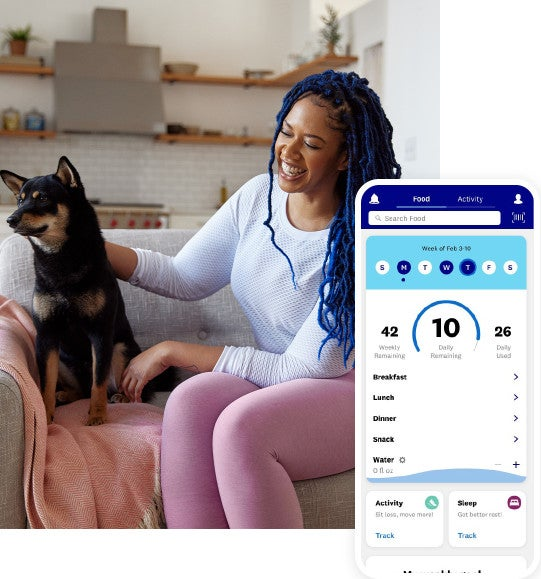 A black woman with blue hair is laughing on a couch while petting a medium-sized black and brown dog. Superimposed to the right of the image is a mobile app screenshot of the WW MyDay screen with SmartPoints tracking.