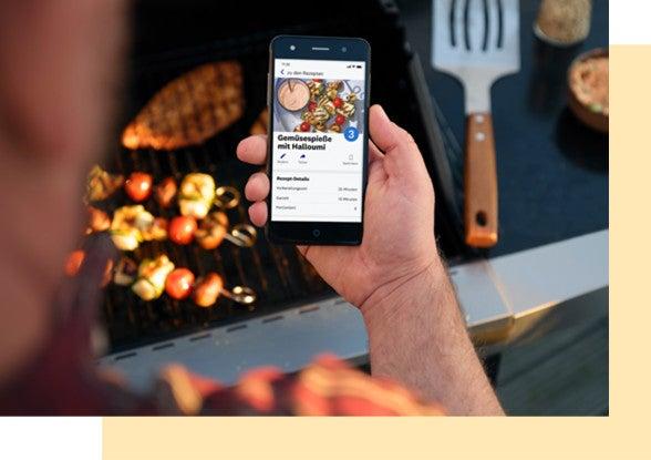 Ansicht über die Schulter auf ein Grillrezept in der WW App