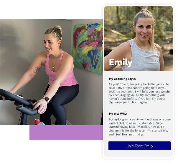 Coach Emily smiling while working out on an exercise bike