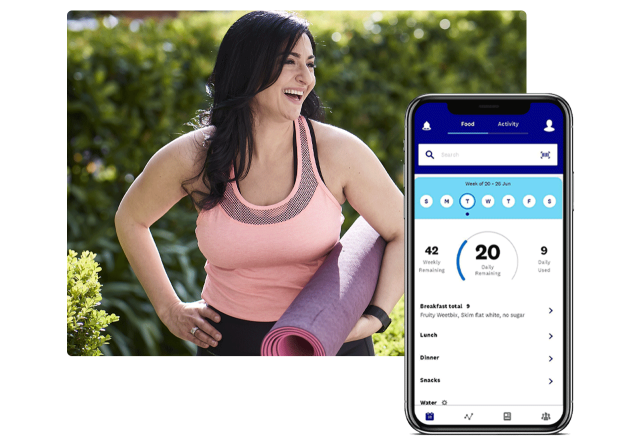 Woman with black hair is laughing holding a yoga mat. Superimposed to the right of the image is a mobile app screenshot of the WW MyDay screen with SmartPoints tracking.