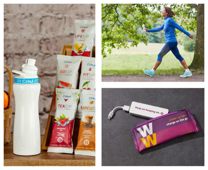 Moving clockwise around the image starting from the left most image: A selection of Cirkul products. A woman goes for a walk in a park. A power bar portable charger from WW.
