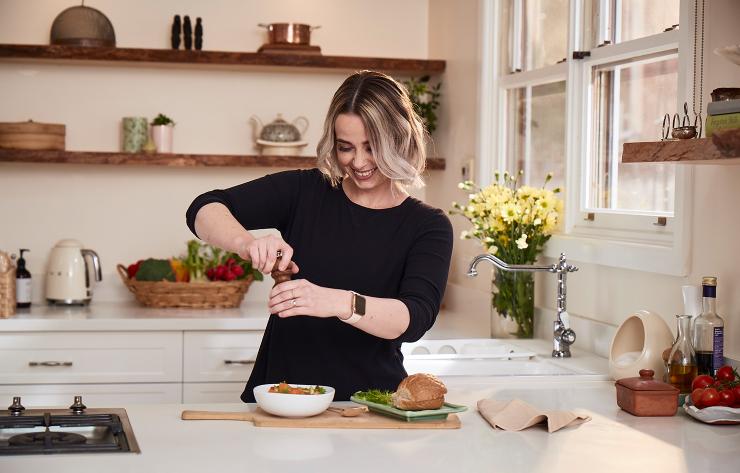 Women cooking in her kitchen